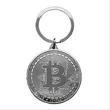 1 Unidad De Llavero De Moneda Bitcoin Chapado En