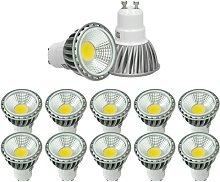 10 x LED Spot regulable 6W COB GU10 - Equivale 40W