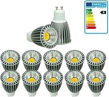 10 x LED Spot regulable 9W COB GU10 - Equivale 60W