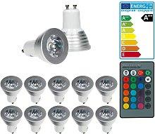 10x LED Spot regulable 3W GU10 RGB - Ángulo de