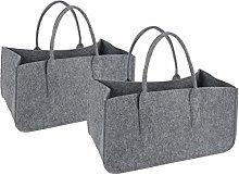 2 bolsas de fieltro gris claro para la bolsa de la