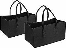 2 bolsas de fieltro negro para bolsa de la compra,