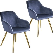 2 Sillas aterciopelada Marilyn oro - azul/oro