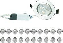 20xLED Foco LED empotrable - 3W - 230V - 8,2cm