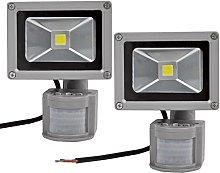2X 10W Foco LED con Sensor Movimiento, Proyector