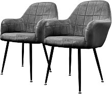 2x sillon mueble de comedor oficina gris oscuro