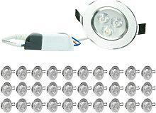 30xLED Foco LED empotrable - 3W - 220V - 8,5cm