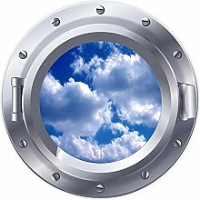 3D ojo de buey ventana cielo nubes pegatina cartel