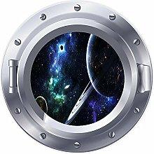 3D ojo de buey ventana espacio planetas estrellas