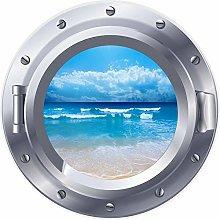 3D ojo de buey ventana orilla playa mar pegatina