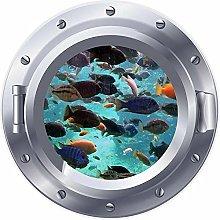 3D ojo de buey ventana pez mar Coral pegatina
