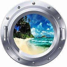 3D ojo de buey ventana playa isla mar pegatina