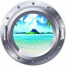 3D ojo de buey ventana playa isla pegatina cartel