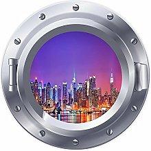 3D ojo de buey ventana Skyline Cityskape pegatina