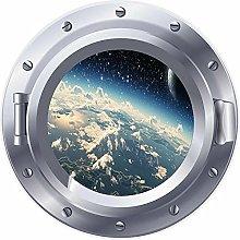 3D ojo de buey ventana tierra espacio estrellas