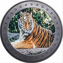 3D ojo de buey vista tigre salvaje etiqueta de la