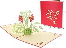 3D Pop Up Tarjeta de felicitación con orquídea