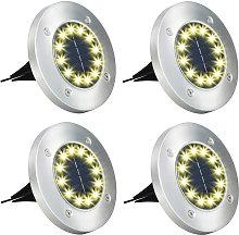 4 focos solares LED para suelo, impermeables al
