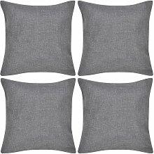 4 fundas color antracita para cojines de imitacion