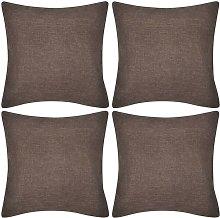 4 fundas marrones para cojines de imitación de