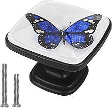 4 Perillas Para Cajones Mariposa Azul A Rayas