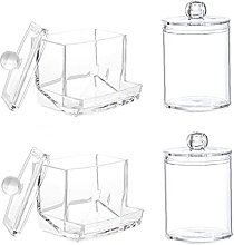 4 Unids Clear Acrylic Cotton Ball Holder Makeup