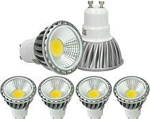 4 x LED Spot regulable 6W COB GU10 - Equivale 40W