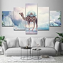 5 Piezas Cuadro sobre Lienzo De Fotos Camello y