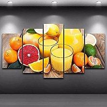 5 Piezas Cuadro sobre Lienzo De Fotos Frutas de