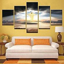 5 Piezas Cuadro sobre Lienzo De Fotos Jesús está