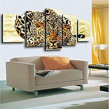 5 Piezas Cuadro sobre Lienzo De Fotos Leopardos de
