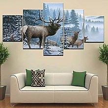 5 Piezas Cuadro sobre Lienzo De Fotos Milu Deer