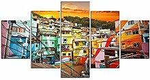 5 Piezas Cuadro sobre Lienzo De Fotos Rio de