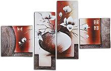 5 piezas lienzo de flores pintura al óleo