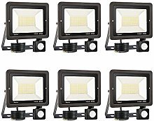 6er 100W LED Foco Exterior con Sensor Movimiento,