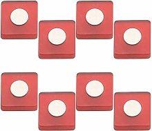 8 unidades pomo tirador mueble resina rojo cromo