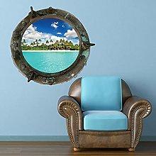 A todo color, ojo de buey, árbol, mar, pared,