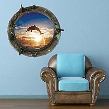 A todo color, ojo de buey, barco, delfín, mar,