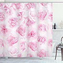 ABAKUHAUS Rosa Cortina de Baño, Floral del