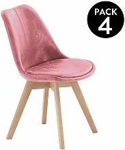 Abecedario - Pack 4 sillas CabaretVelvet Coral