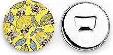 Abrebotellas redondos de limón amarillo y abeja /