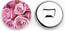 Abrebotellas redondos de rosa rosa / Imanes de