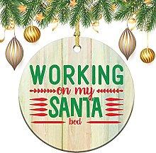 Adorno de Navidad de cerámica con cinta –
