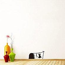 Agujero de ratón 3D con tendedero, lavandería