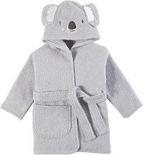 Albornoz para bebé de algodón gris bordado