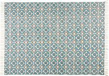 Alfombra de algodón azul con motivos 140x200