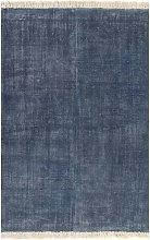 Alfombra de algodon Kilim 160x230 cm azul