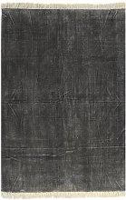 Alfombra de algodon Kilim 160x230 cm gris antracita