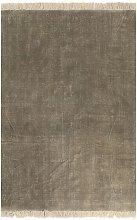 Alfombra de algodon Kilim 160x230 cm gris topo