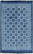 Alfombra de algodón Kilim con estampado azul